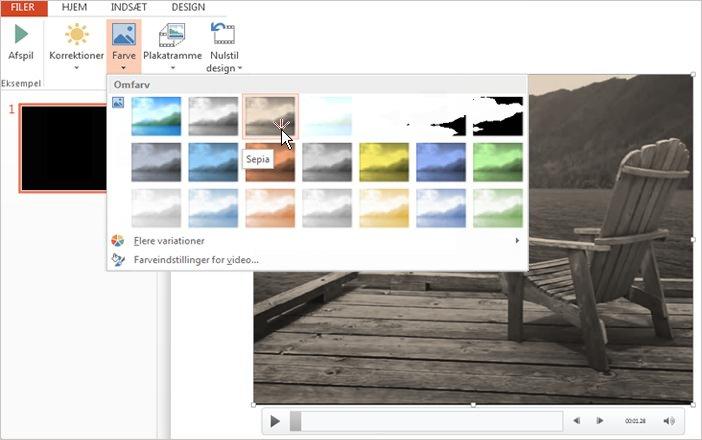 Ændre farven på videooptagelser