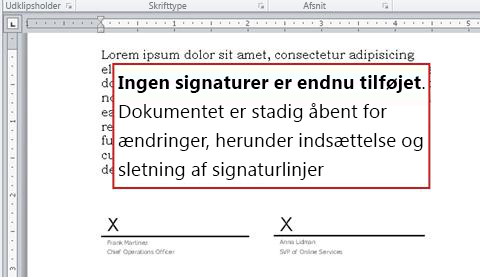 Dokument uden den første signatur, og som derfor kan redigeres