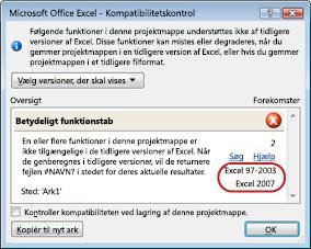 Kompatibilitetskontrol med versionerne fremhævet