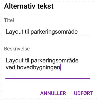Føj alternativ tekst til billeder i OneNote til Android