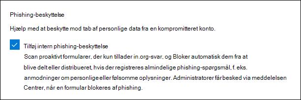 Microsoft Forms-administrator indstilling for phishing-beskyttelse