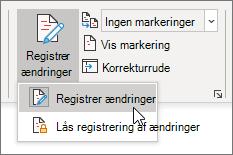 Slå registrering af ændringer til