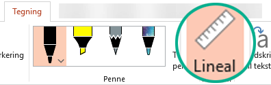 Linealstencilen findes under fanen Tegn på båndet i PowerPoint 2016.