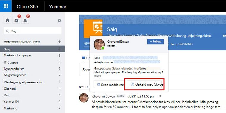 Hold markøren kort opkald med Skype
