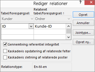 Dialogboksen Rediger relationer