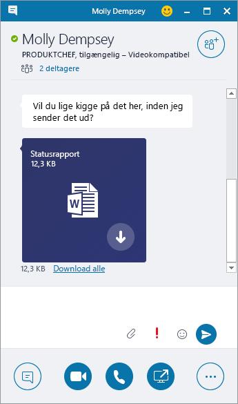 Skærmbillede af chat-vinduet med en indgående vedhæftet fil.