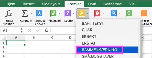 SAMMENKÆD- og TEKST.KOMBINER-funktioner er tilgængelige i Excel.