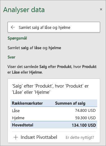 Ideer i Excel besvarer et spørgsmål om, hvor mange låse eller helmets blev solgt.
