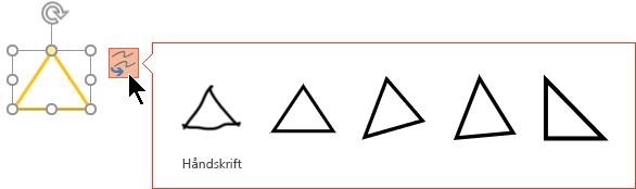 Erstatnings indstillingerne omfatter valg af at vende tilbage til den oprindelige håndskrevne tegning