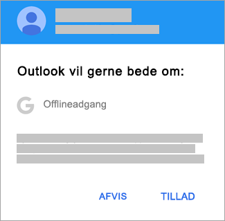 Tryk på Tillad for at give Outlook offlineadgang.