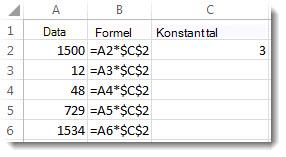 Tallene i kolonne A, formlen i kolonne B med $-symboler og tallet 3 i kolonne C