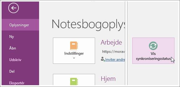 Vis synkroniseringsstatus for OneNote-notesbøger.