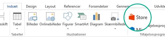 For at installere Office-tilføjelsesprogrammer skal du bruge knappen Gem på fanen Indsæt på båndet.
