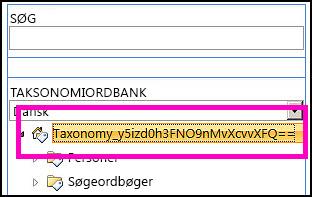 Et skærmbillede af trævisningen i Værktøj til styring af ordbank, der viser navnet på taksonomien og de underordnede mapper.