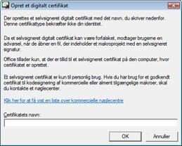 Dialogboksen Opret digital signatur