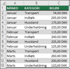 Eksempeldata på husholdningsudgifter til at oprette en pivottabel med måneder, kategorier og beløb