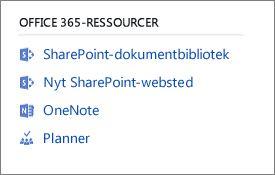 Skærmbillede, der viser ressourcer til Office 365