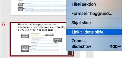 Viser link til slide i en præsentation