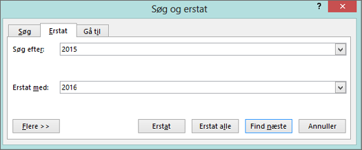 Fanen Erstat i dialogboksen Søg og erstat