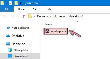 Dobbeltklik på lwsetup.exe for at begynde at installere tilføjelsesprogrammet LiveWeb.