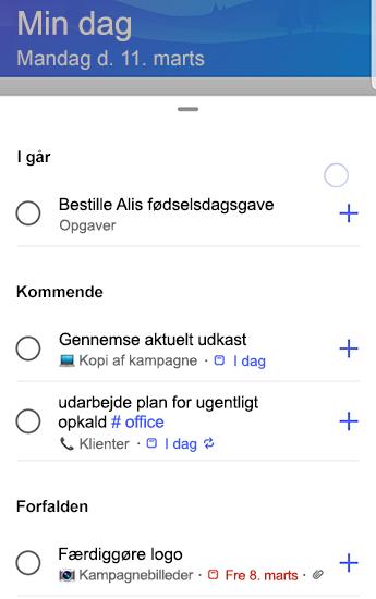 Skærmbillede af to-do på Android med forslag, der er helt åbne og grupperede i går, forestående og forFaldne.