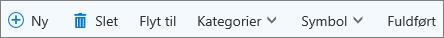 Opgavekommandolinjen til Outlook.com