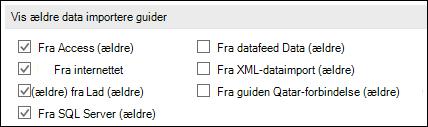 Billede af indstillingerne Hent og transformere ældre guiden fra fil > Indstillinger > Data.