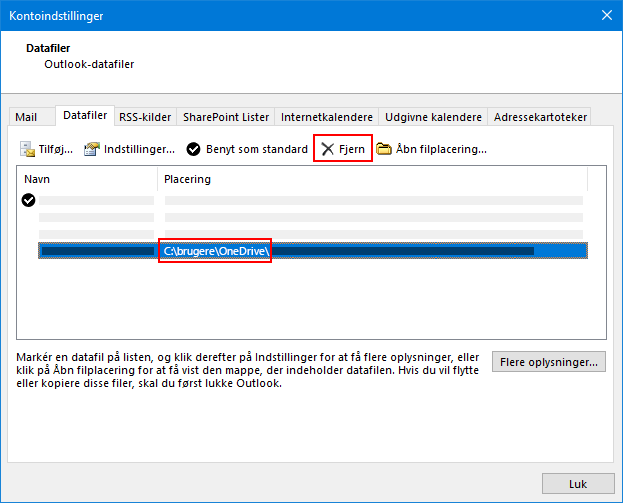 Dialogboksen Outlook-datafiler