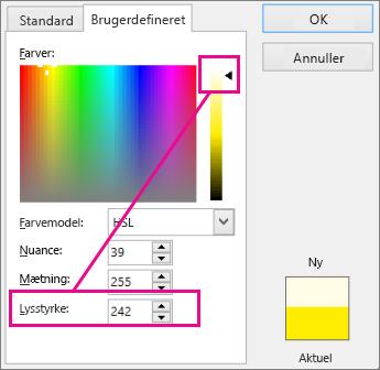 Hvis du flytter markeringen opad på luminansskalaen, øges lysstyrken