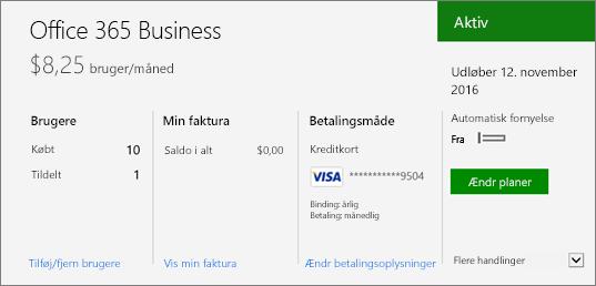 Siden Abonnementer i Office 365 Administration, der viser, hvilket abonnement, du har, samt dets status.