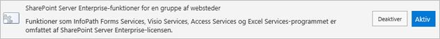 Aktivere funktioner i SharePoint Server Enterprise-websteder