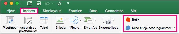 Viser Lagringen og knapper til mine Tilføjelsesprogrammer under fanen Indsæt på båndet i Excel 2016 til Mac.