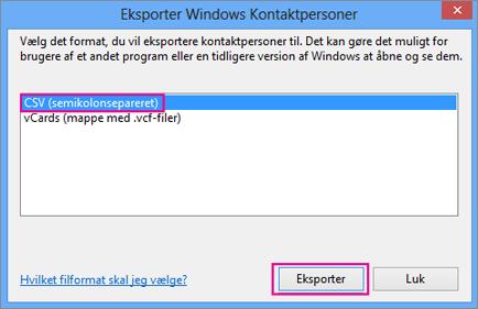 Vælg CSV, og vælg derefter Eksportér.