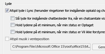 Ændre indstillinger for Lync-beskeder