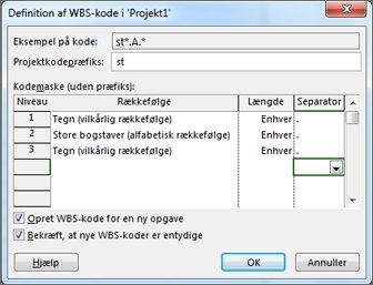 Billede af dialogboksen Definition af WBS-kode