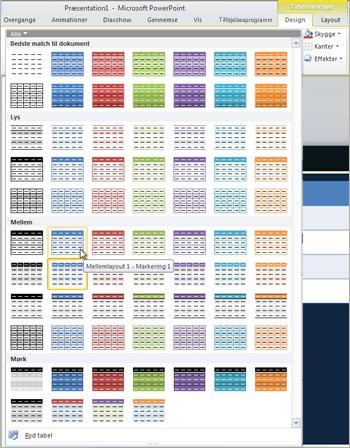 Miniaturer af tabeltypografier