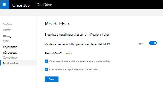 Fanen beskeder i OneDrive-administration