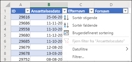 Brug Excels Tabelfilter til at sortere i stigende eller faldende rækkefølge