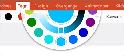 Viser farvehjulet med flere farvemuligheder på fanen Tegning i Office 2016 til iPad