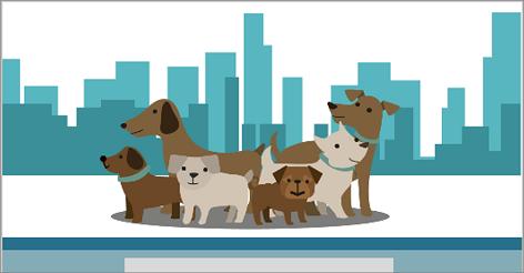 Illustration af en gruppe af hunde