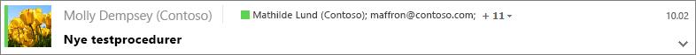 Vælg en meddelelse i mappen Sendt for at få vist Bcc-modtagere, og vælg om nødvendigt pilen til udvidelse for at få vist hele meddelelsesoverskriften.