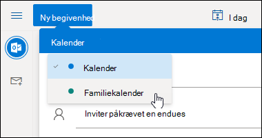 Et skærmbillede af rullemenuen kalender valg
