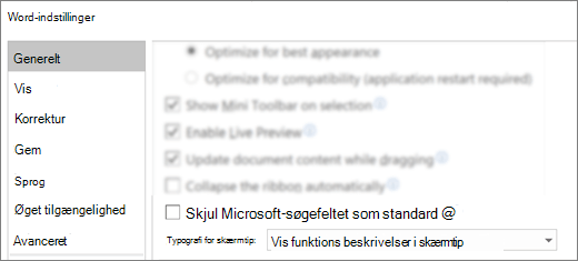 Dialogboksen Indstillinger for filer >, der viser feltet Skjul Microsoft-søgefeltet som standardindstilling.