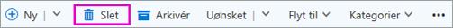 Knappen Slet på båndet i Outlook