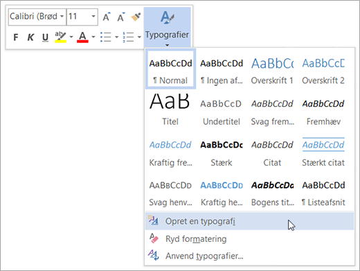 Opret en ny typografi baseret på formatering