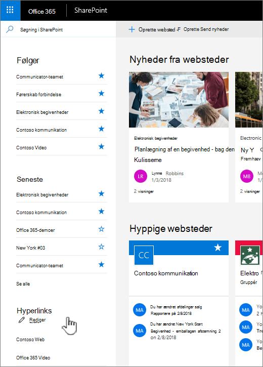Liste over hyperlinks på startsiden for SharePoint online