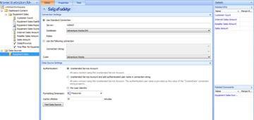 Dashboarddesignerside, der viser Salg af udstyr, som den nye datakilde
