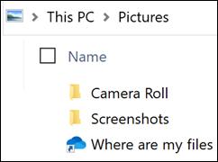 Ikonet viser, hvor er mine filer?
