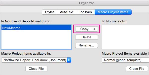 Vælg en makro i et dokument, og klik derefter på Kopier for at kopiere den til en valgt skabelon.