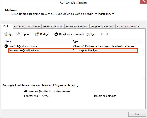 Outlook Kontoindstillinger, Mailkonti